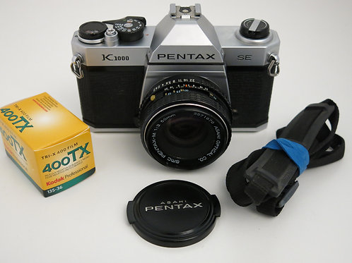 PENTAX K1000 SE edition SLR film Camera has Working Meter with smc 50mm f 2.0 le