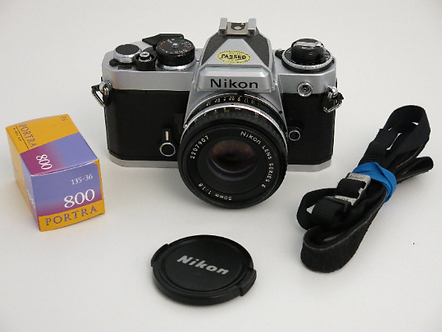 Nikon FE 35mm SLR Manual Film Camera + Nikon 50mm 1.8