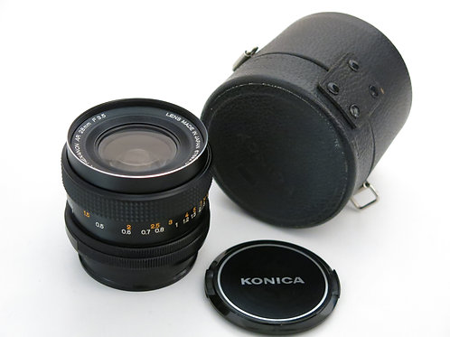 Konica Hexanon AR 28mm f:3.5 wide lens in nice and clean condition