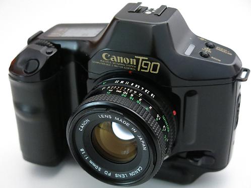 Mint Canon T90 SLR film camera + 50mm 1.8 FD