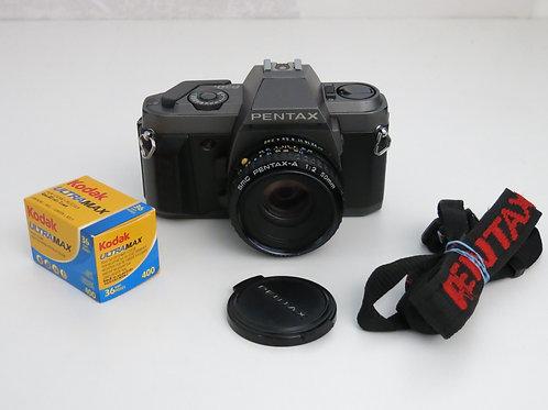 Pentax P30T SLR 35mm film camera with 50mm 1:2 Pentax-A Lens