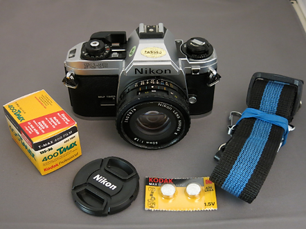 Nikon FG-20 SLR film camera with 50mm 1.8 lens + New Light Seals