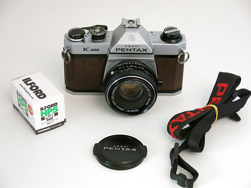 Rare a Brown leather Pentax K1000 35mm SLR Film Camera