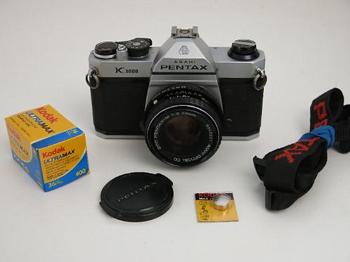 PENTAX K1000 35mm SLR film Camera with 50 mm f2 lens + New light seals