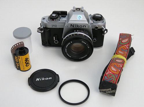 Nikon FG SLR film camera with 50mm 1.8 lens with new light seals