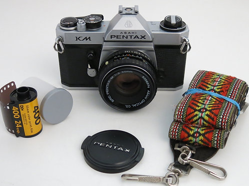 Pentax KM 35mm SLR film camera + 50mm f:2.0 lens