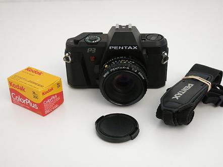 Mint Pentax P3 SLR 35mm film camera with 50mm 1:2 Pentax-A Lens