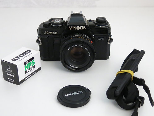 Minolta X-700 35mm SLR film camera with 50mm lens with new light seals