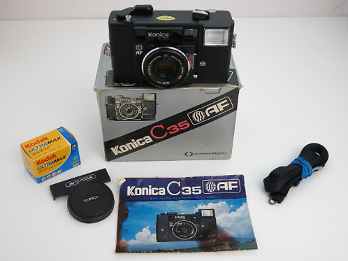 Konica C35 AF Point & Shoot film camera with new light seals in box