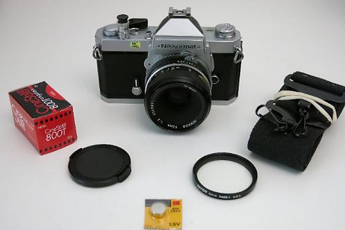 Near Mint Nikkormat FT2 SLR Film Camera + Nikkor 50mm f:2.0 Lens