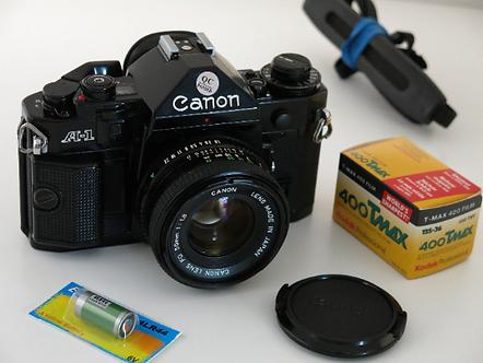 Canon A-1 SLR film camera + 50mm 1.8 FD lens New light seals