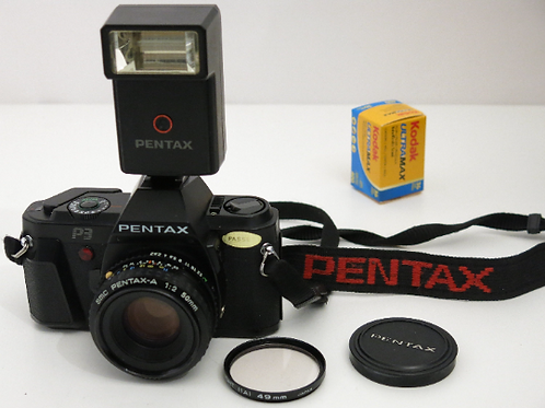 Pentax P3 SLR film camera + 50mm Pentax-A lens + Flash and Fresh Film