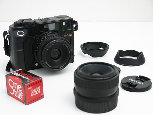 Bronica RF645 120mm RangeFinder Camera w/ 2 lenses and roll of film