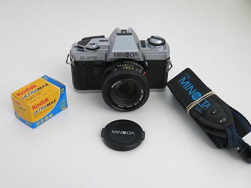 Minolta X-370 35mm SLR film camera + Lens New Light Seal