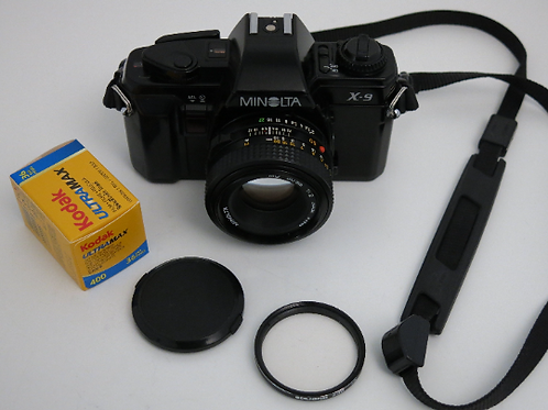 Minolta X-9 SLR film camera with 50mm MD lens with new roll of film