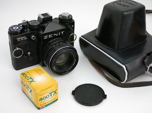 Black Zenit TTL 35mm SLR made in USSR film camera with case + Helios 44-2 58