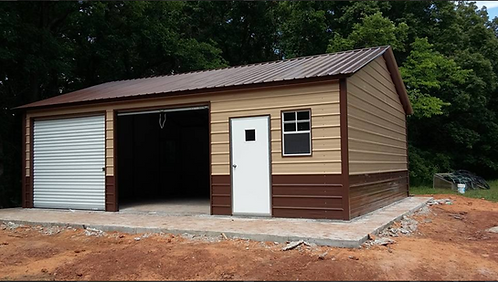24' x 36' x 9' Vertical Roof Side Entry Garage