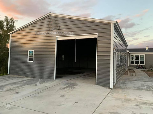 24' x 40' x 12' Vertical Roof Garage