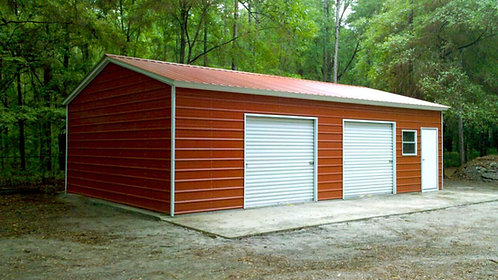 24' x 35' x 10' Vertical Roof Side-Entry Garage