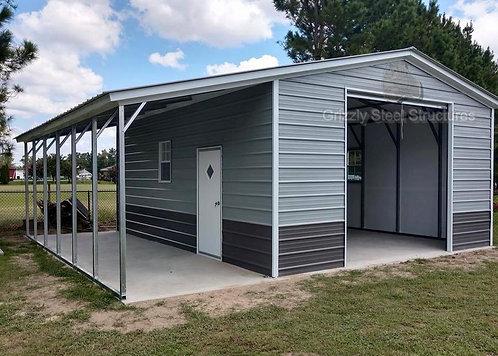 18' x 30' x 11' Vertical Roof Garage W/ Lean-to
