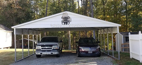 24' x 25' x 9' Vertical Two Car Carport