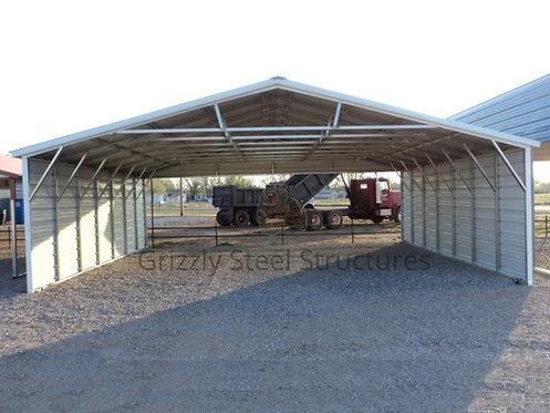 26' x 35' x 8' Vertical Roof Triple Wide Carport
