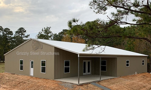64' x 101' x 13' Vertical Roof Garage W/ Lean-to's