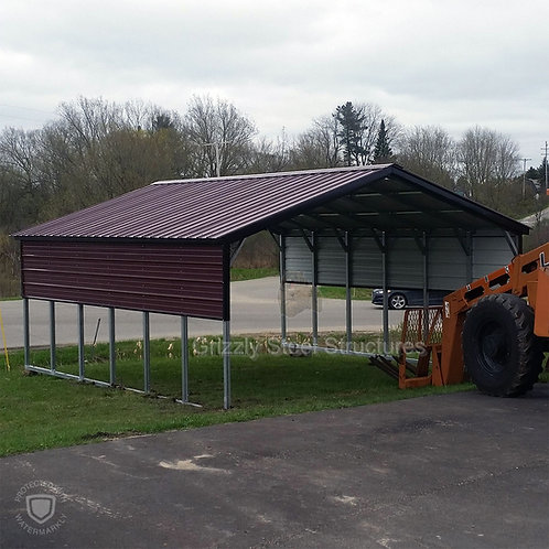 18' x 30' x 7' Burgundy Vertical Roof Carport
