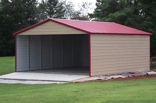 24' x 30' x 10' Vertical Roof Three-Sided Carport