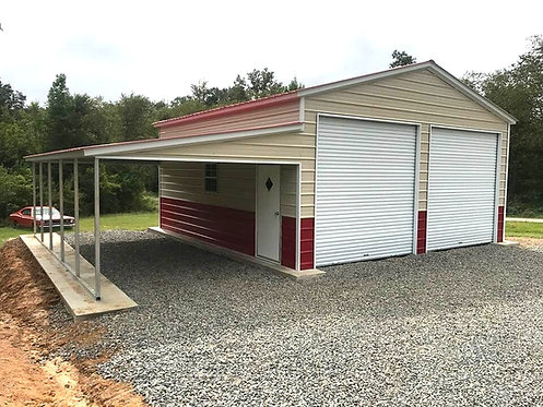 36' x 25' x 11' Vertical Roof Garage with Lean-To