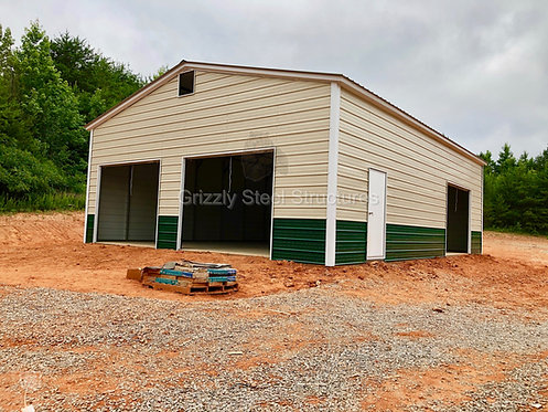 30'W x 40'L x 12'H Vertical Roof Metal Garage