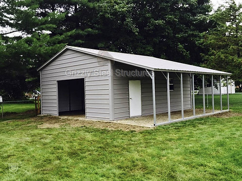18' W X 25' L X 10'H VERTICAL GARAGE WITH LEAN-TO
