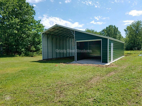 30' W X 41' L X 12'H VERTICAL CARPORT WITH SIDE STORAGE
