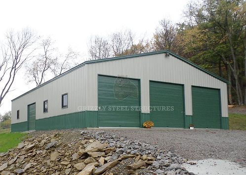 40' x 80' x 12' All-Vertical Two-Tone Garage
