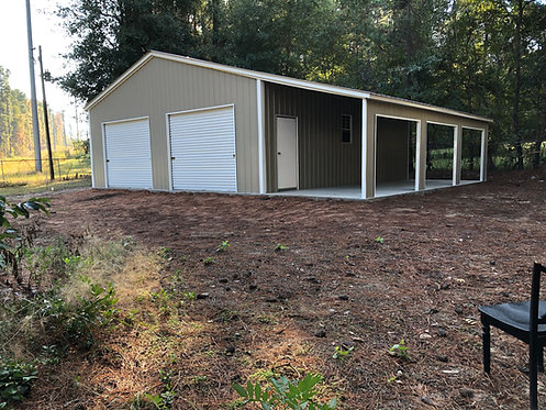 28' x 31' x 11' Vertical Roof Garage W/ Lean-to