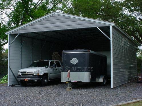 24' x 35' x 12' Vertical Roof Three-Sided Carport