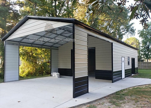 24' x 55' x 11' Vertical Garage W/ Porch