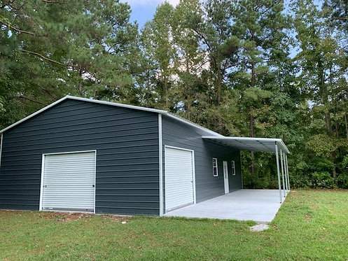 30' x 61' x 12' Vertical Roof Garage W/ Lean-to