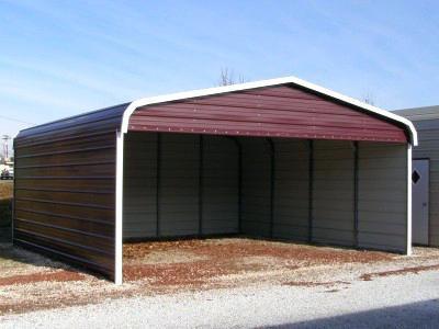 22' x 20' x 9' Regular Roof Three-Sided Carport