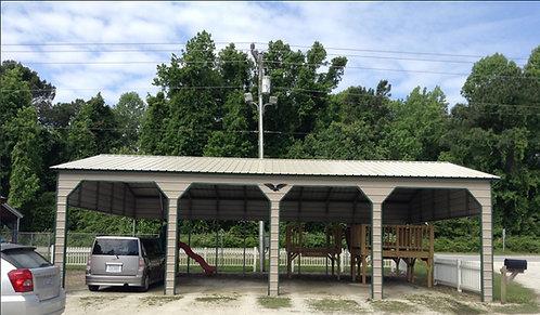 20' x 50' x 12' Vertical Partially Carport