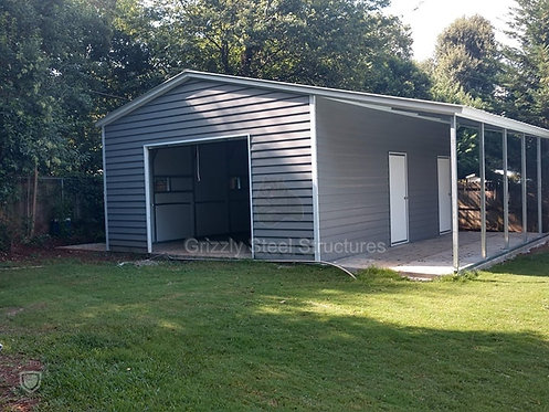 36' x 31' x 11' Vertical Roof Garage with Lean-To