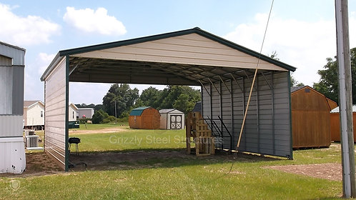 26' x 35' x 12' Vertical Roof Triple-Wide Carport