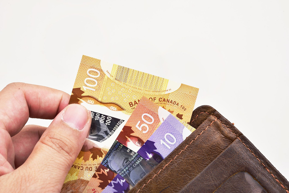 Canadian Cash in wallet 100 50 and 10 dollars