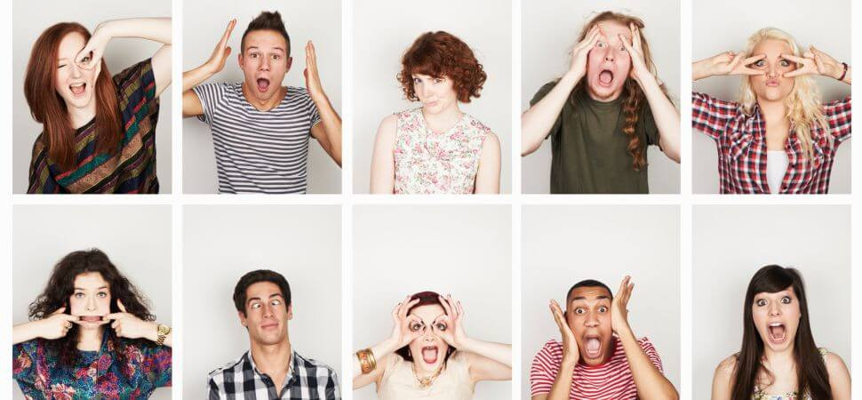 Millennial's making faces displaying different emotions