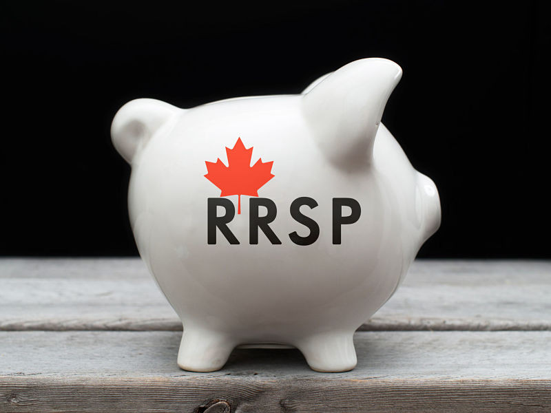 Piggy Bank With red canadian maple leaf and rrsp on front