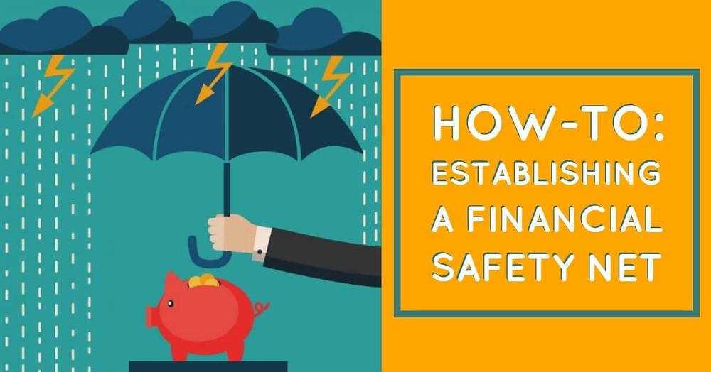 umbrella over piggy bank establishing financial safety
