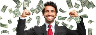Man in suit happy with money