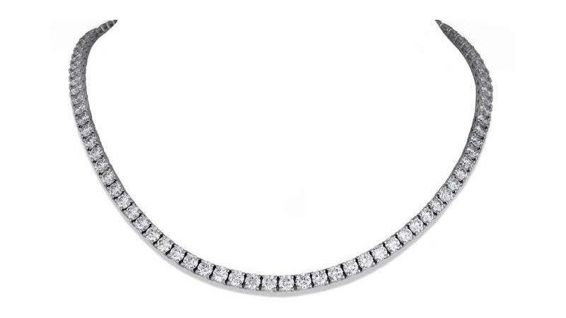 18KW 10.21ctw Diamond Tennis Necklace