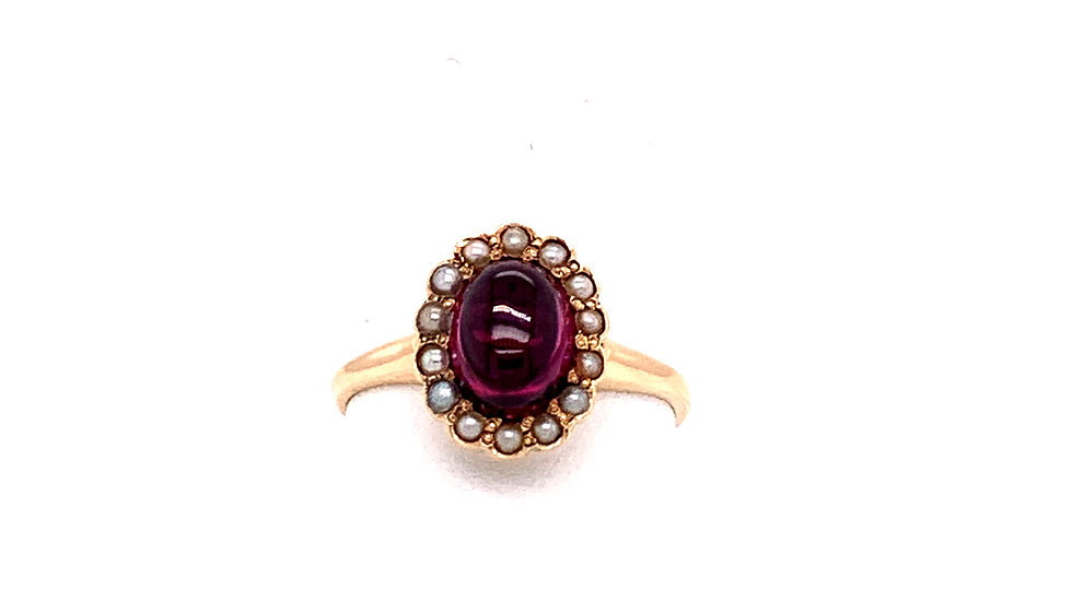 14K Yellow Gold Victorian Garnet Ring