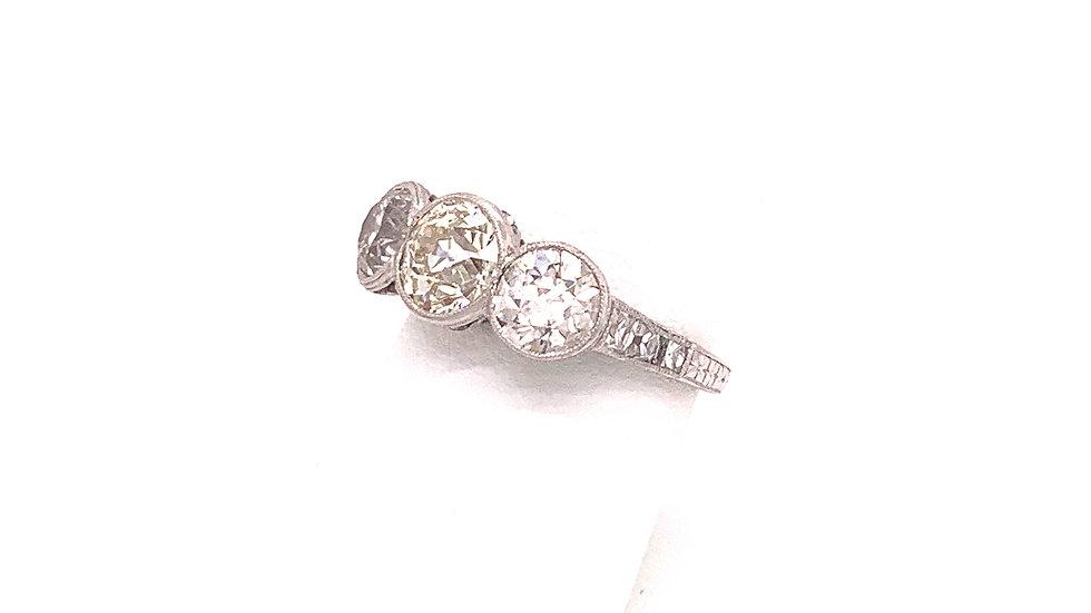 Platinum Grand Three Diamond Engagement/Anniversary Ring